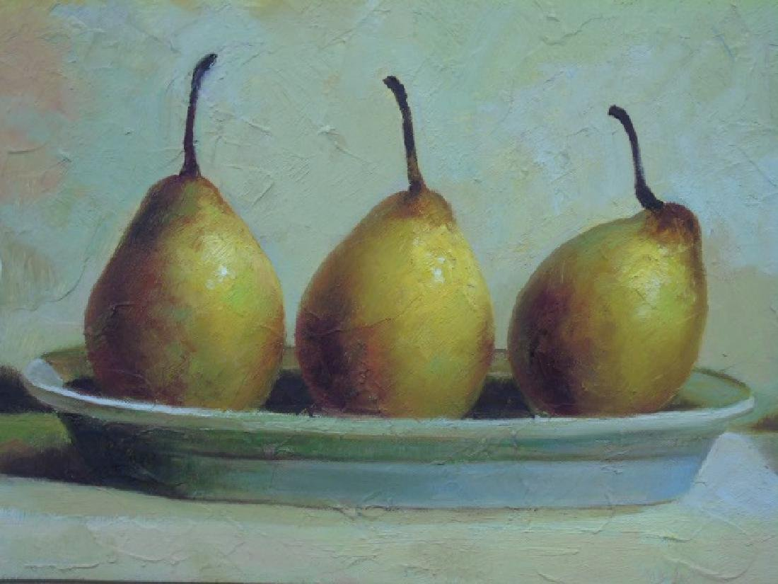 Still Life w 3 Pears Oil on Canvas Signed A. Jones - 3