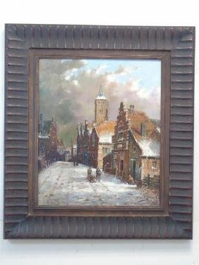 Dutch Winter Scene Oil on Canvas Signed F. Tailroy