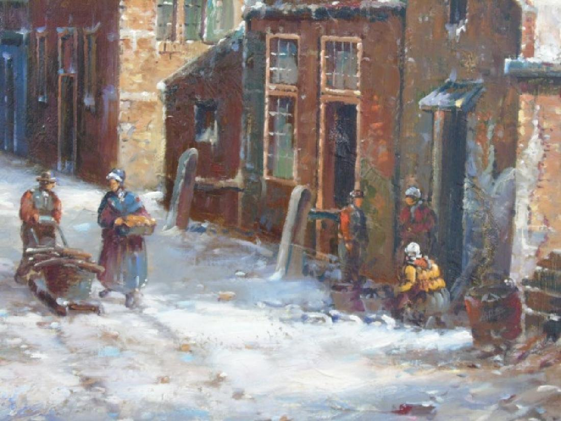 Dutch Winter Scene Oil on Canvas Signed F. Tailroy - 3
