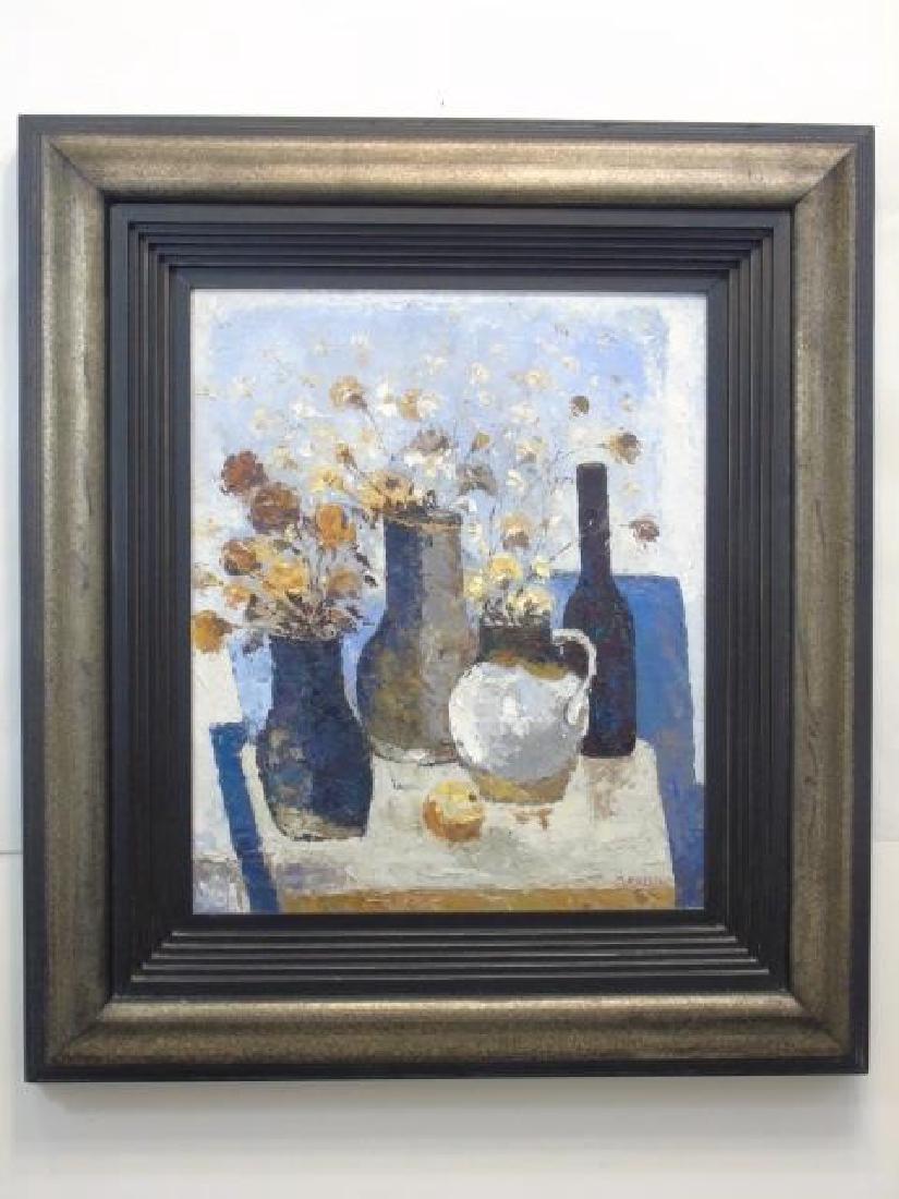 Still Life w Vases & Flowers Signed J. Alvin