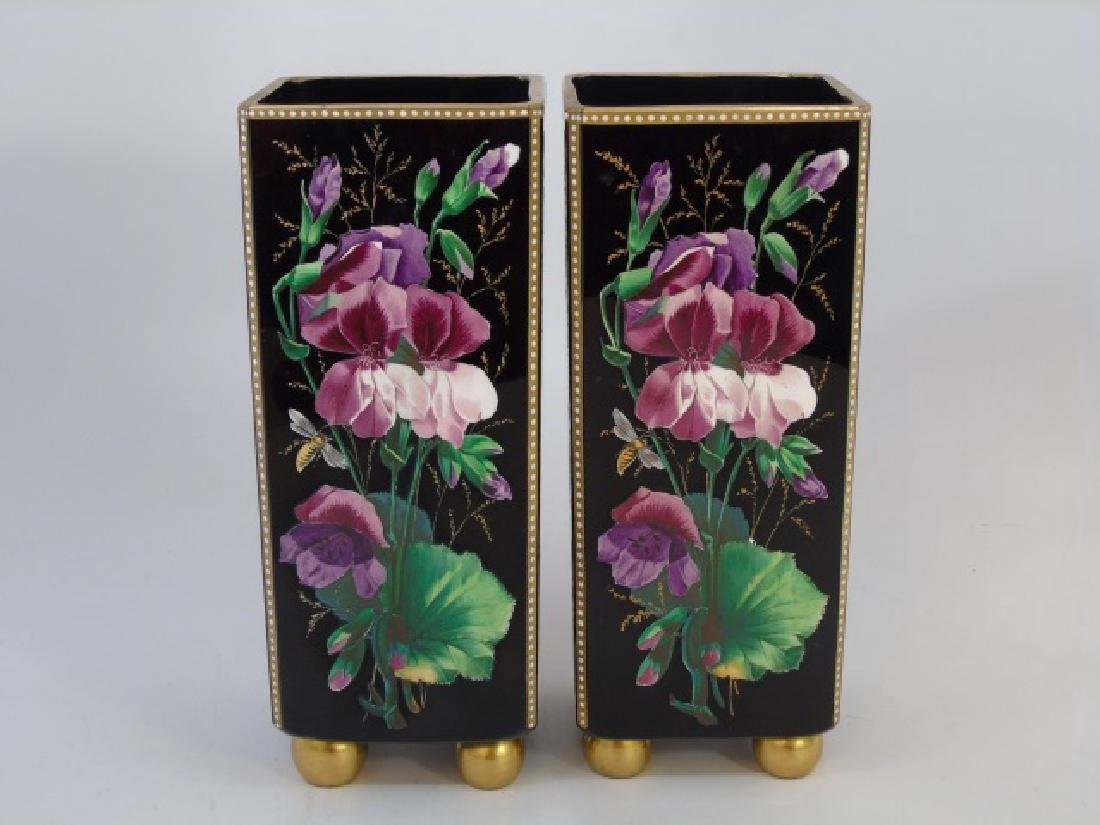 Pair Signed Antique Hand Painted Glass Vases