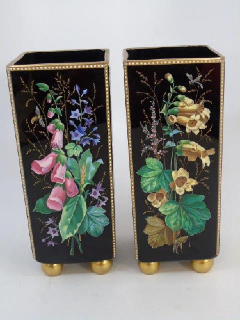 Pair Signed Antique Hand Painted Glass Vases - 3