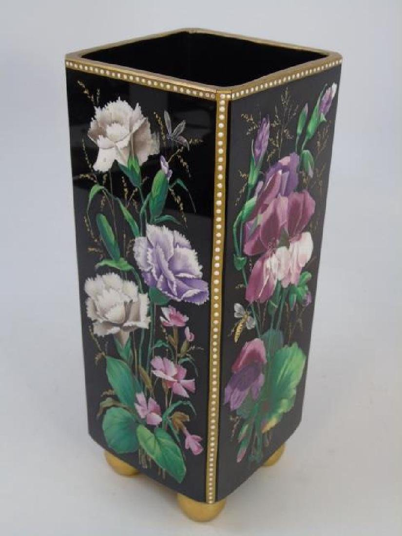 Pair Signed Antique Hand Painted Glass Vases - 4