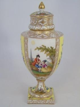 Antique Dresden Hand Painted Porcelain Urn