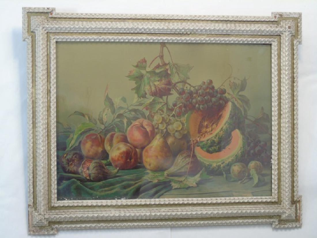 Fruit Still Life Wonderful Painted Tramp Art Frame