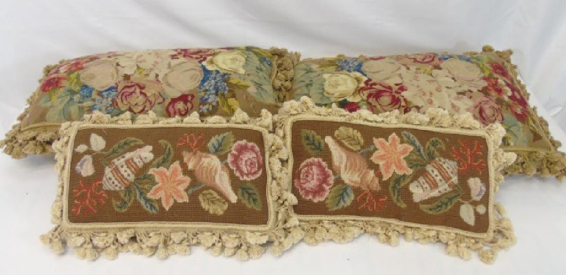 Group of 4 Floral Needlepoint Tapestry Pillows