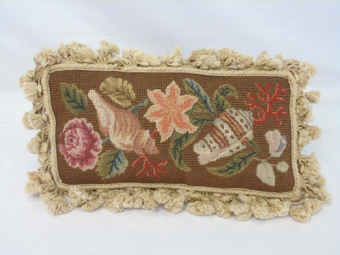 Group of 4 Floral Needlepoint Tapestry Pillows - 4