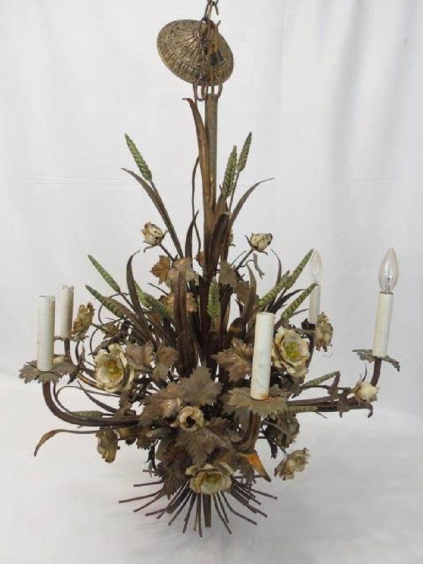 Large Painted Metal Tole Chandelier Wheat & Flora