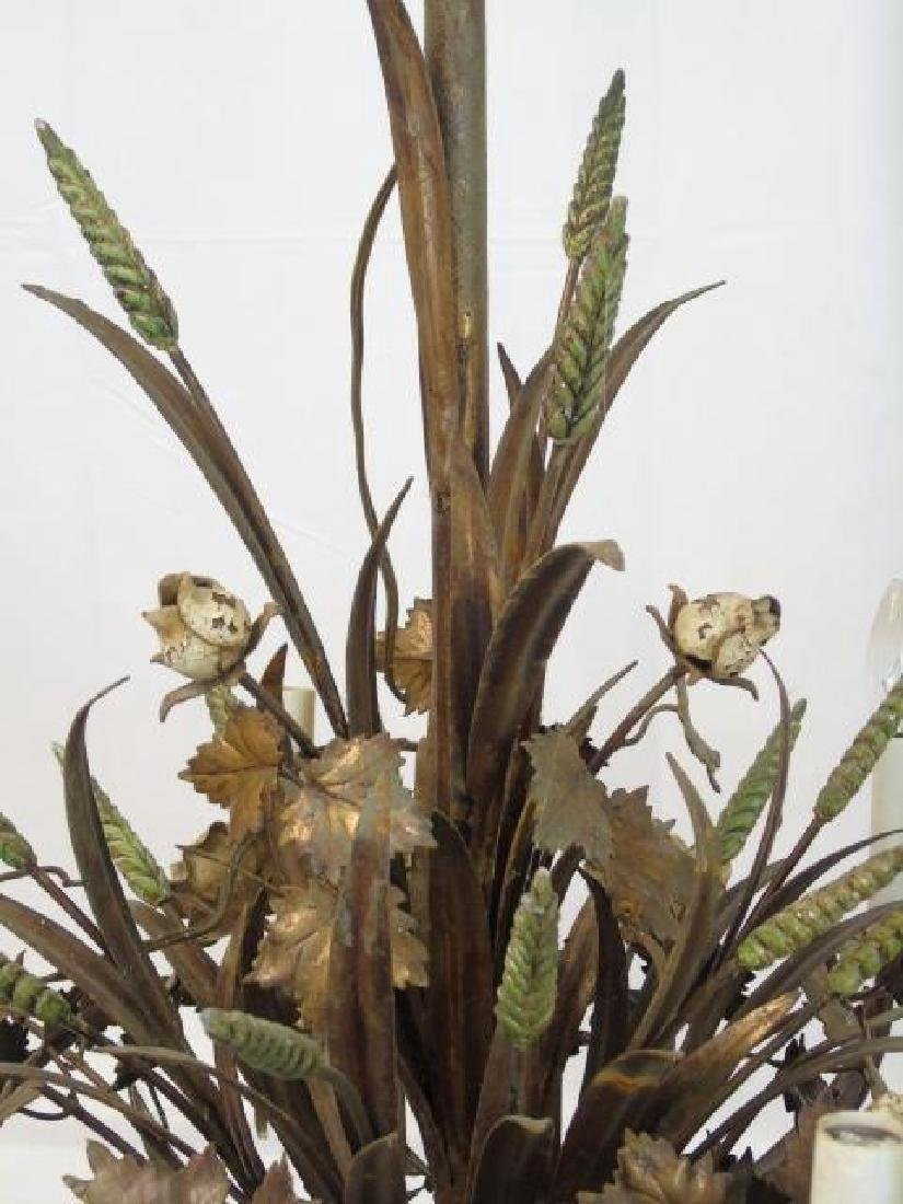 Large Painted Metal Tole Chandelier Wheat & Flora - 3
