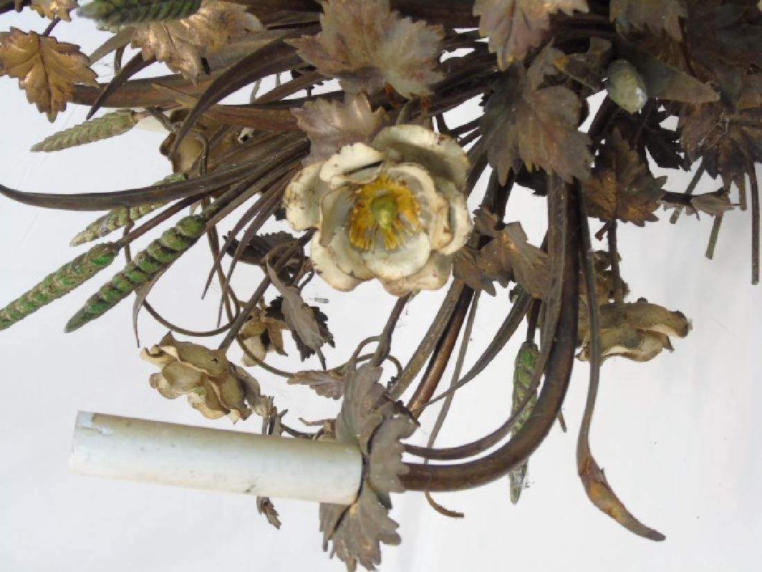 Large Painted Metal Tole Chandelier Wheat & Flora - 4