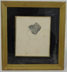 19th C Finely Drawn Portrait Silhouette of a Lady