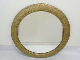 Vintage Round Gilt Mirror with Fish Scale Pattern