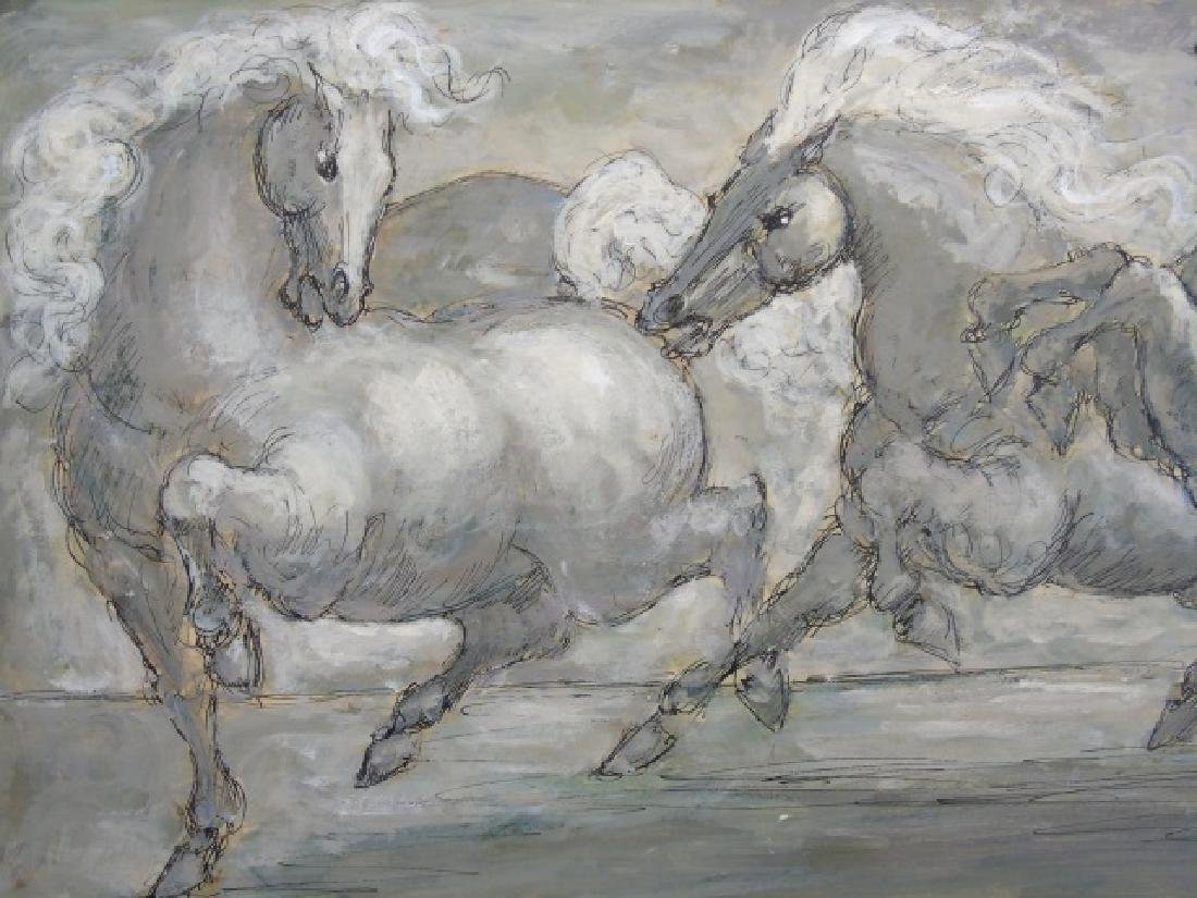 Finely Painted Charles Burdick Oil on Canvas Horse - 3