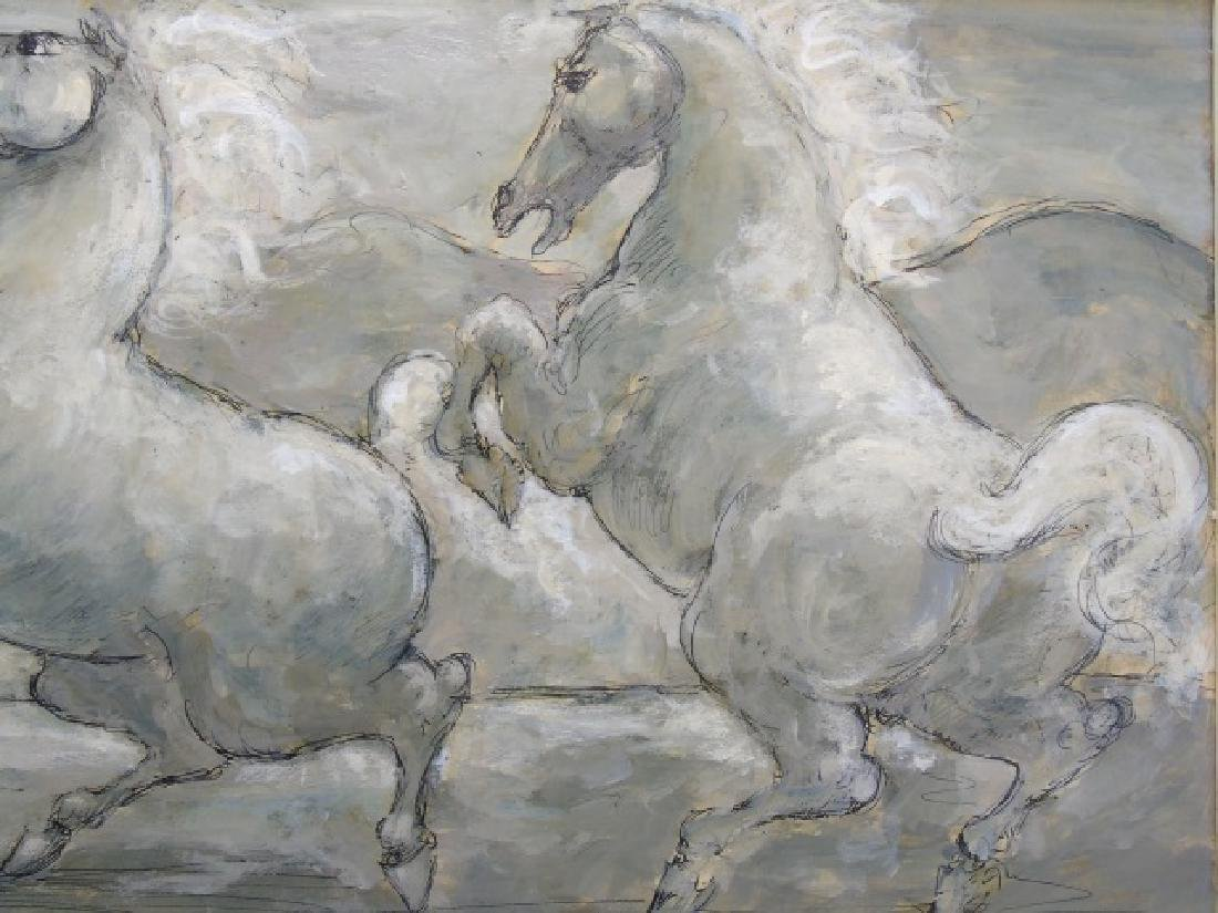 Finely Painted Charles Burdick Oil on Canvas Horse - 4