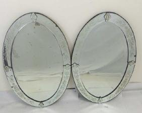 Vintage Pair Venetian Style Etched Glass Mirrors
