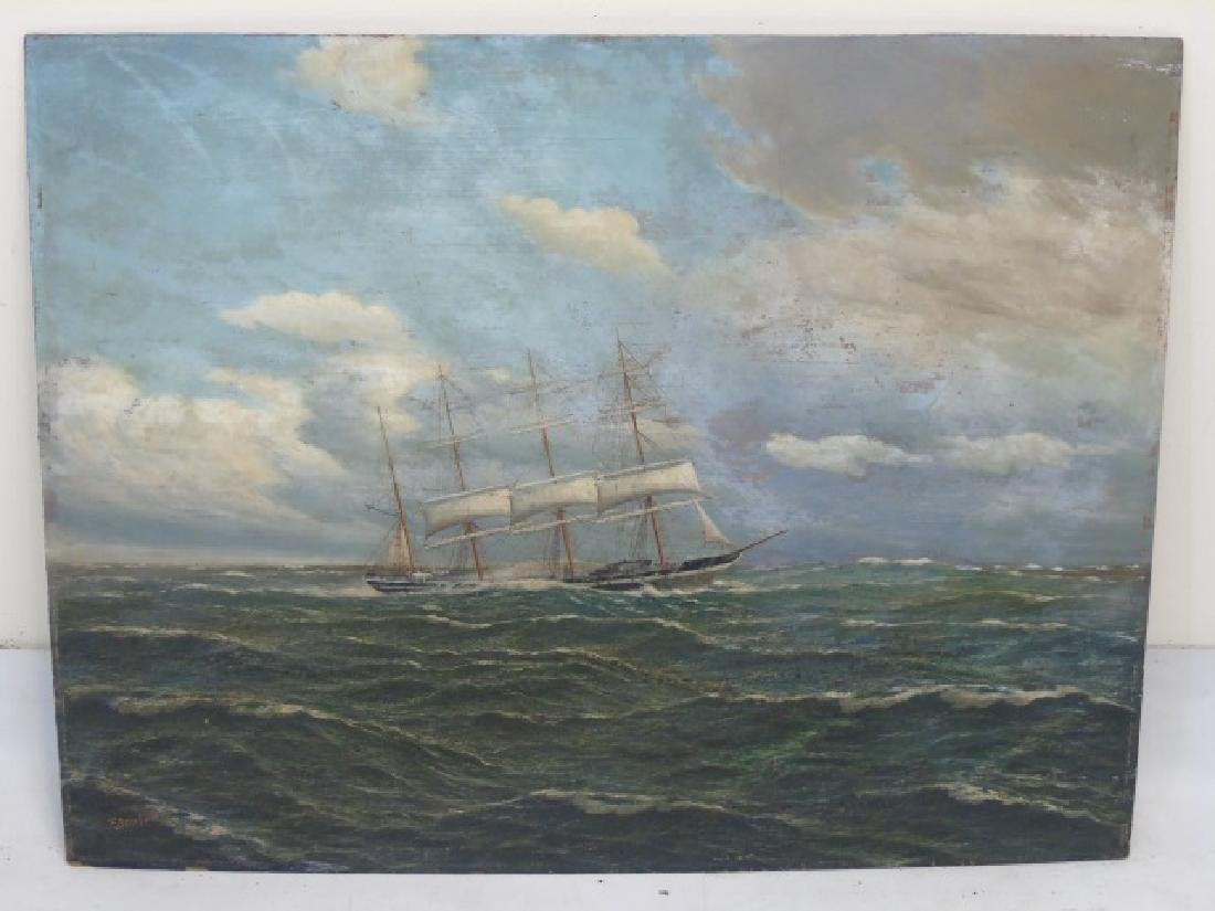 Oil Painting on Board of 4 Masted Schooner at Sea