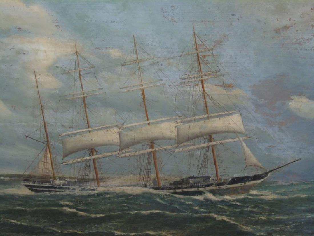 Oil Painting on Board of 4 Masted Schooner at Sea - 3