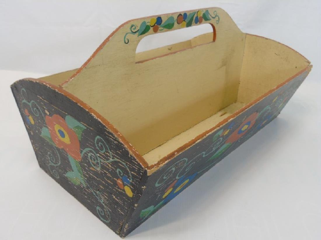 Antique Wooden Cutlery Tray w Hand Painted Design