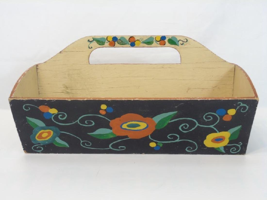 Antique Wooden Cutlery Tray w Hand Painted Design - 2