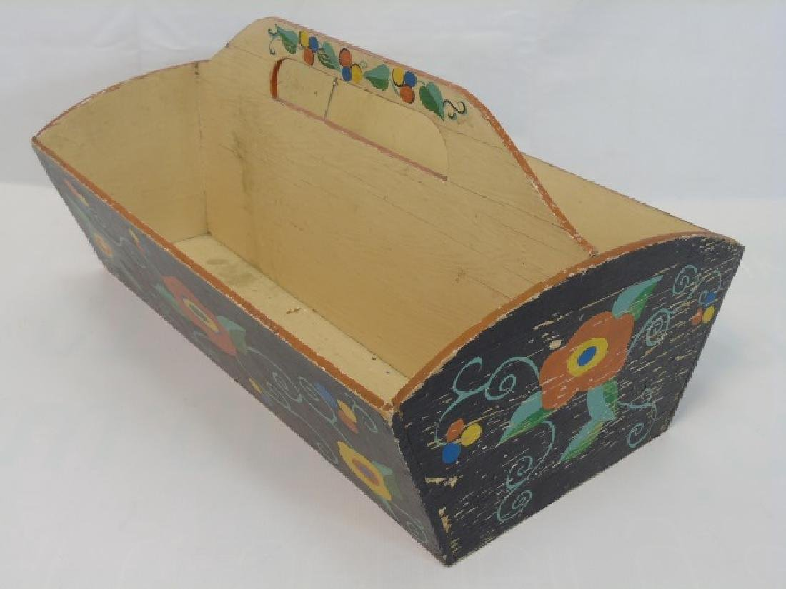Antique Wooden Cutlery Tray w Hand Painted Design - 3