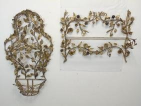 Two Gold Leaf Wrought Metal Figural Plant Holders