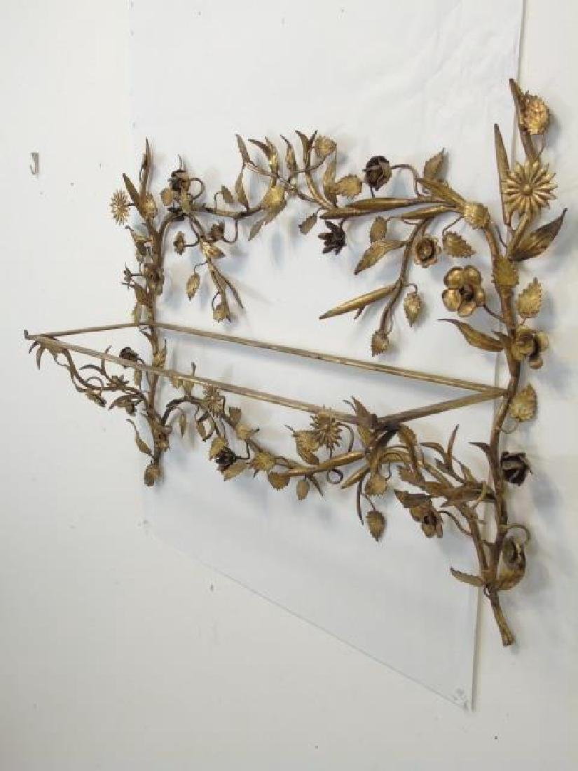 Two Gold Leaf Wrought Metal Figural Plant Holders - 2