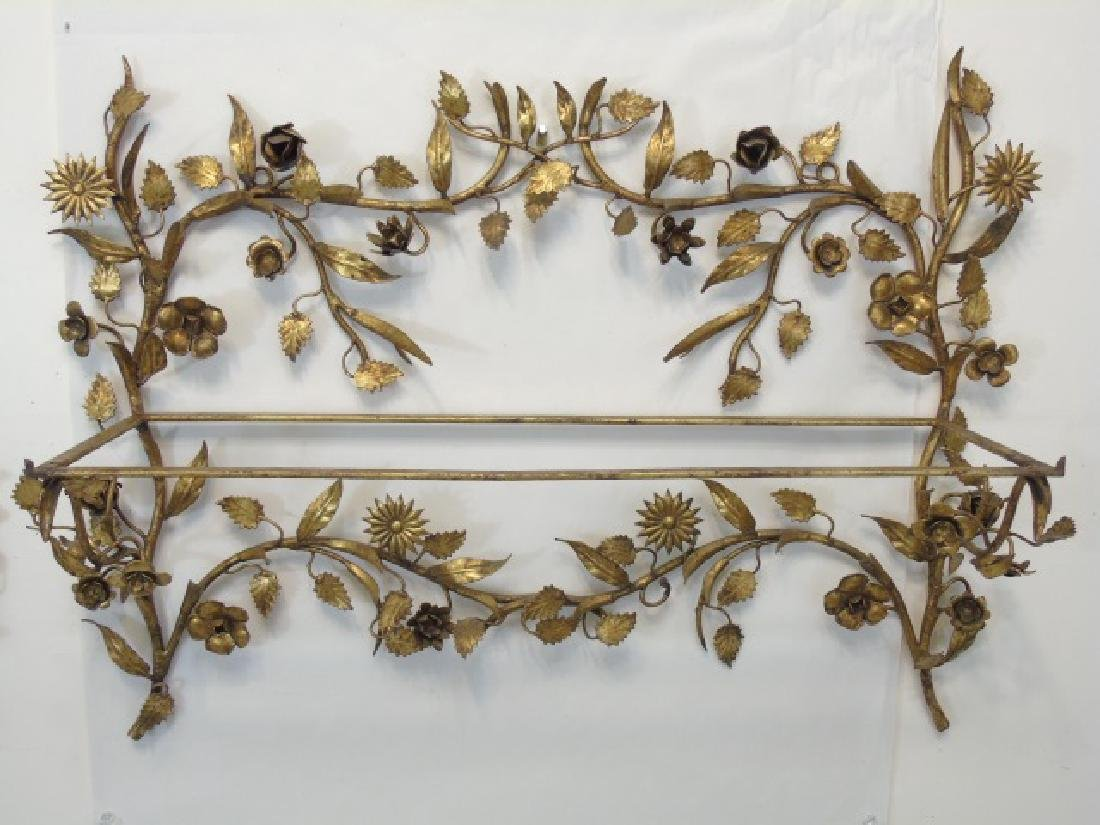 Two Gold Leaf Wrought Metal Figural Plant Holders - 3