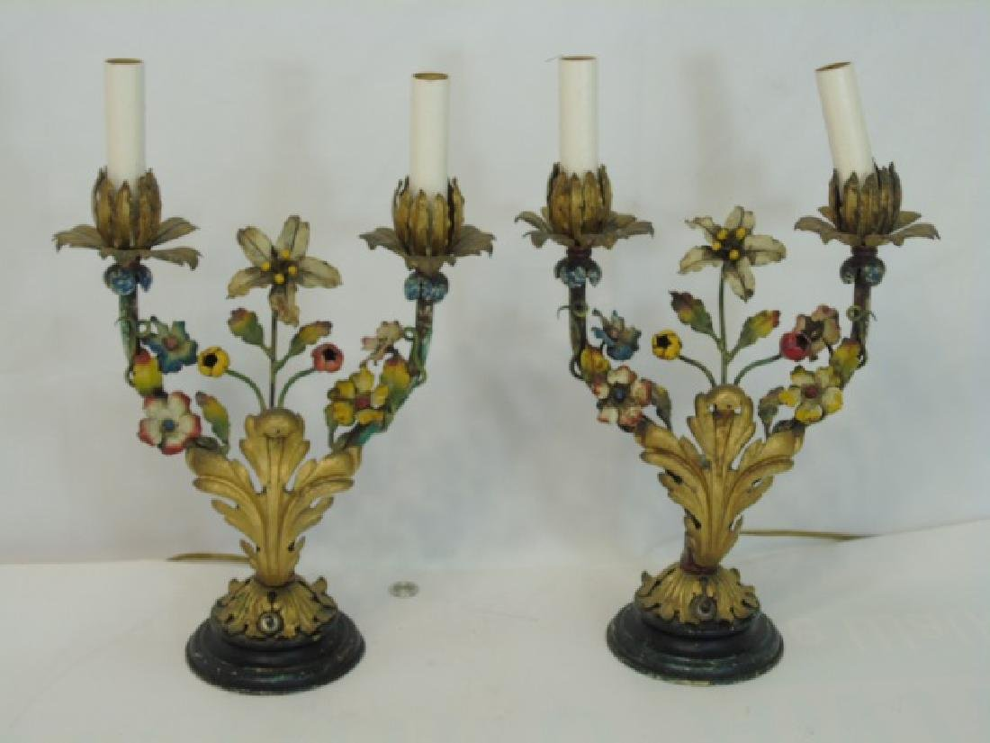Pair Antique Tole Metal Candelabra Mount Lamps