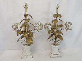 Pair Antique Tole Metal Statue Mount Table Lamps