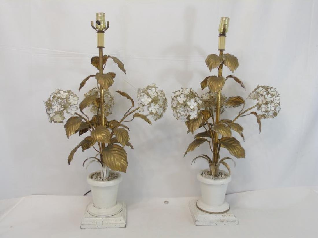 Pair Antique Tole Metal Statue Mount Table Lamps