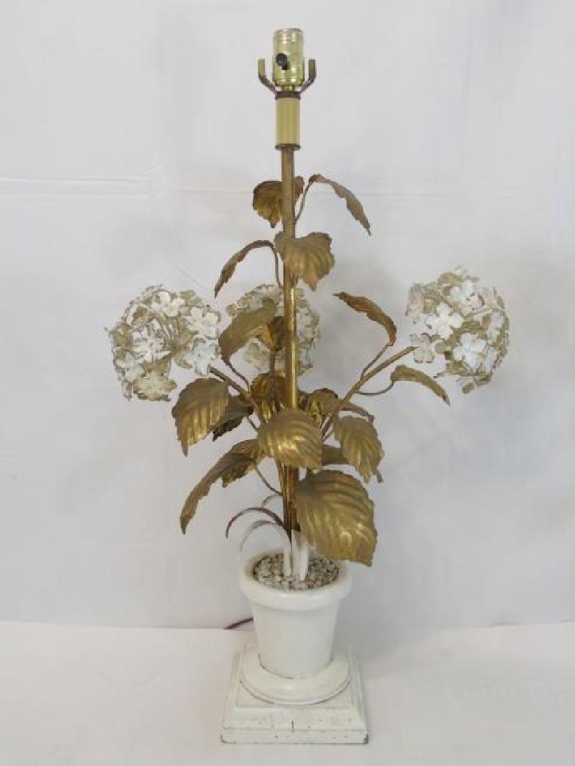 Pair Antique Tole Metal Statue Mount Table Lamps - 2
