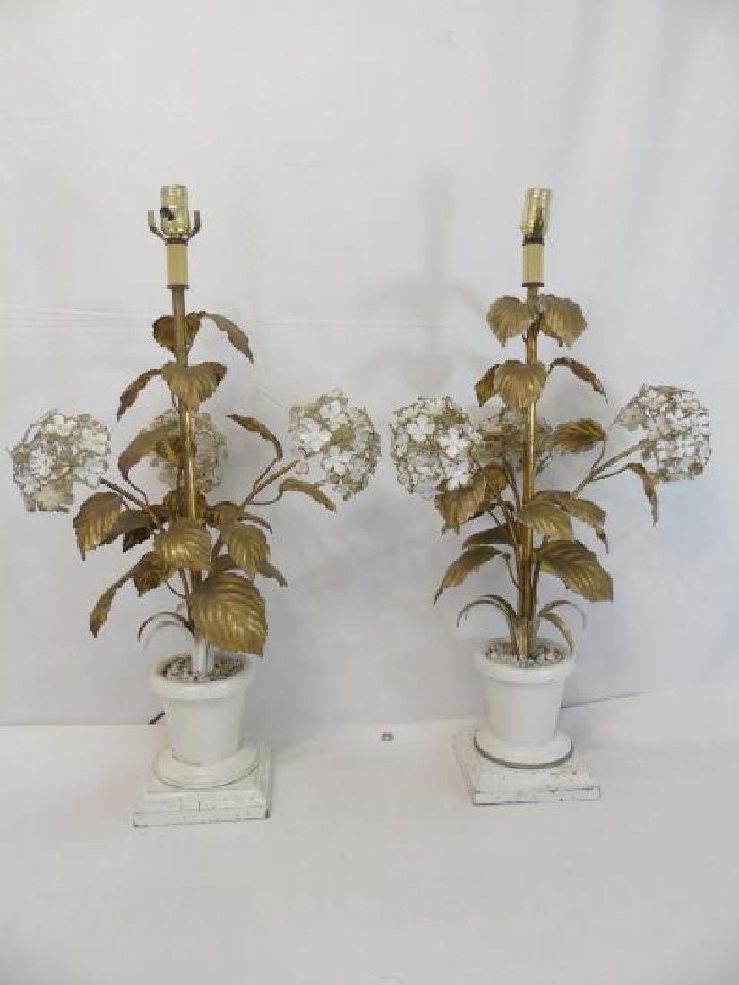 Pair Antique Tole Metal Statue Mount Table Lamps - 3