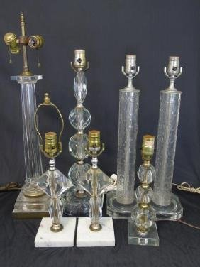 Group of Seven Modern Lucite & Glass Table Lamps