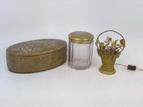 Antique Brass Box, Lidded Jar & Flower Basket Lamp