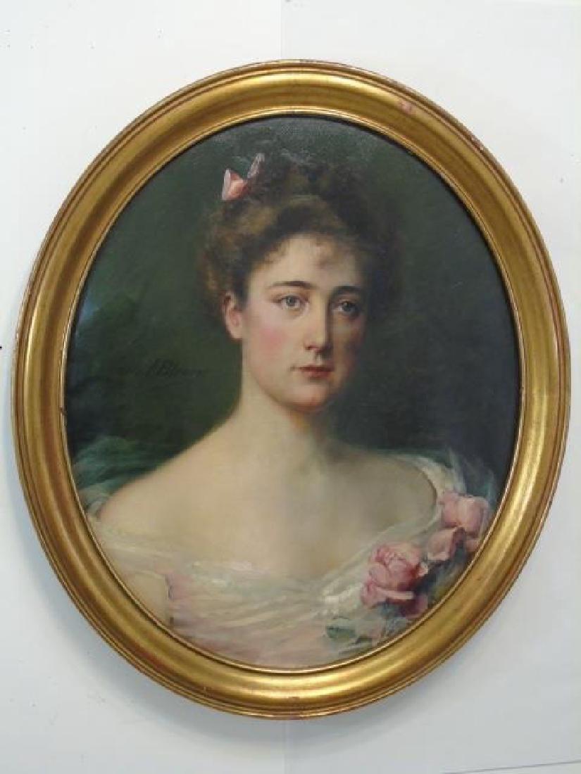 Antique Oval Portrait of a Lady Signed C J Blenner