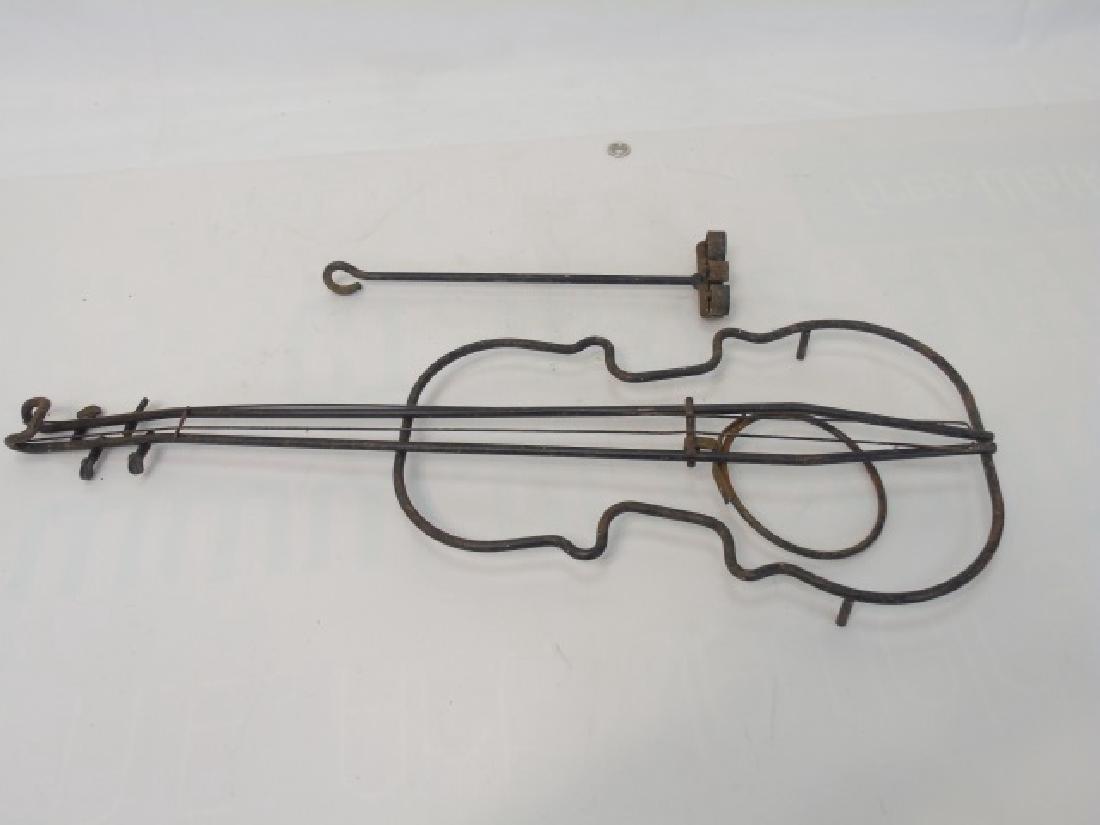 Vintage Bent Metal Violin Shaped Planter & Brand