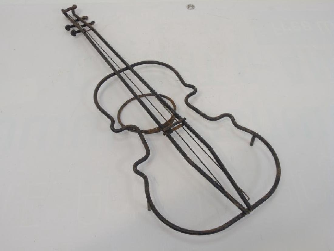 Vintage Bent Metal Violin Shaped Planter & Brand - 4