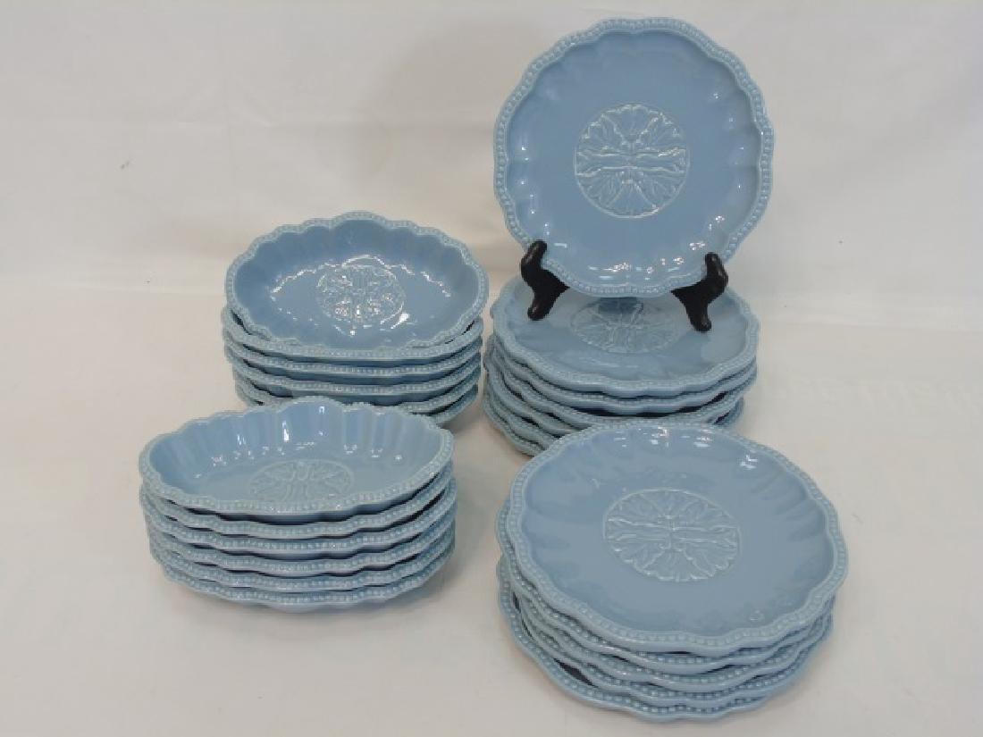 Blue Pottery Dessert Set 12 Plates & Sundae Boats