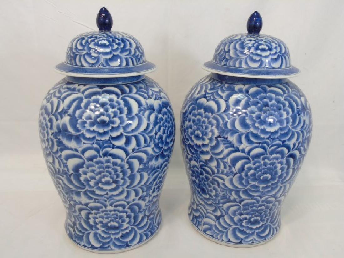 Pair Extra Large Chinese Blue & White Ginger Jars