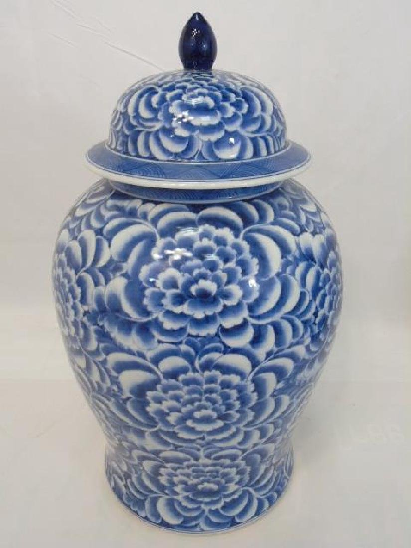 Pair Extra Large Chinese Blue & White Ginger Jars - 3
