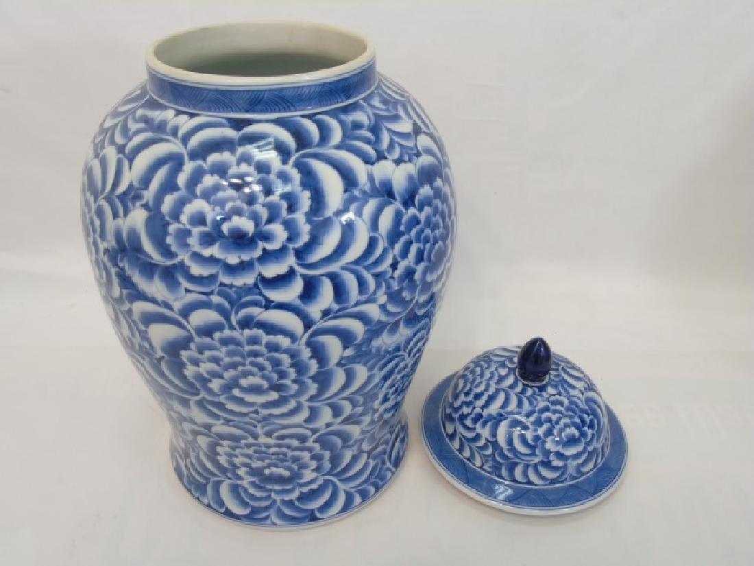 Pair Extra Large Chinese Blue & White Ginger Jars - 4