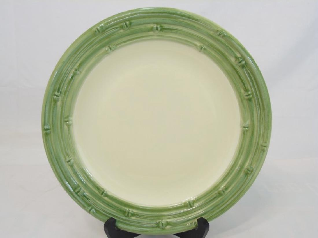 Set of 13 Bamboo Edged Green Dinner Plates - 2