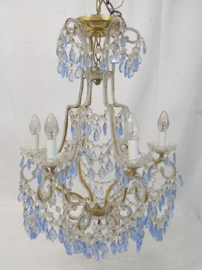 Vintage Crystal Chandelier w Blue & Clear Crystals
