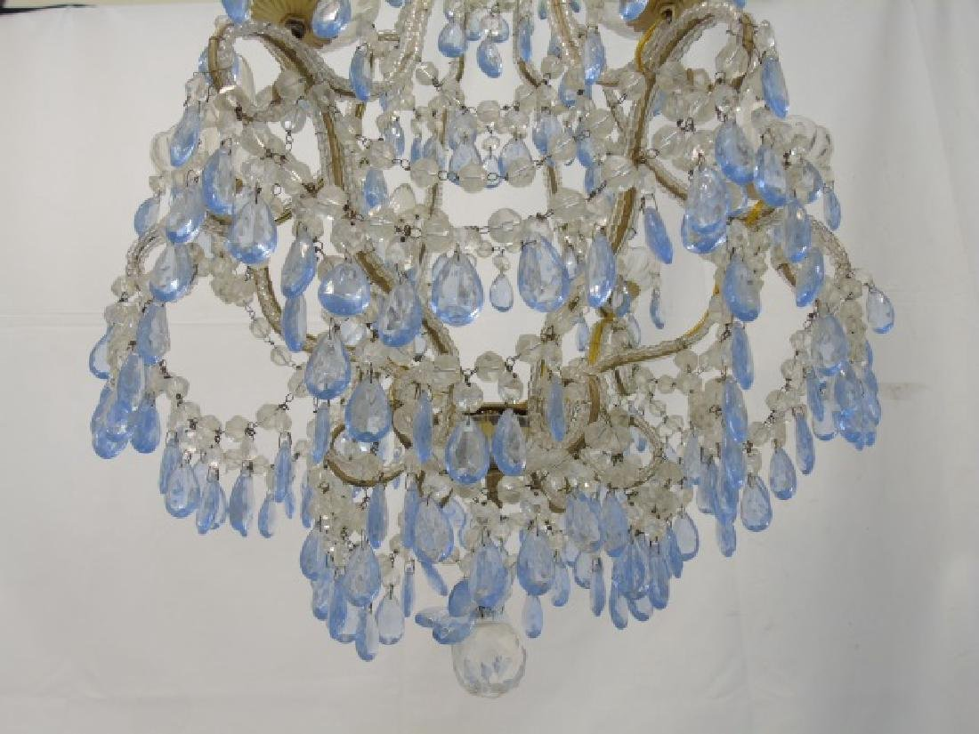 Vintage Crystal Chandelier w Blue & Clear Crystals - 2