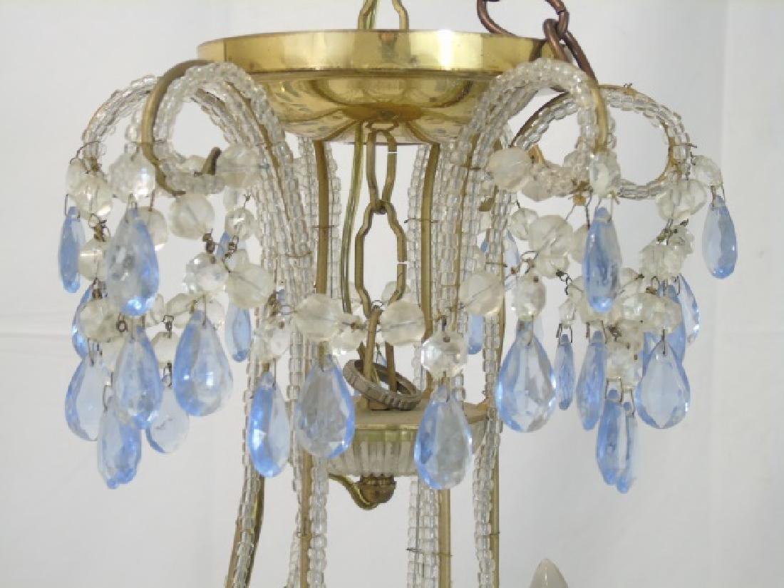 Vintage Crystal Chandelier w Blue & Clear Crystals - 3