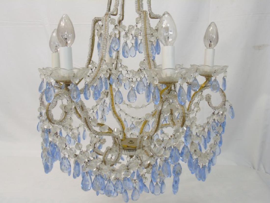 Vintage Crystal Chandelier w Blue & Clear Crystals - 4