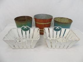 4 Vintage Painted Metal Items Buckets & Baskets