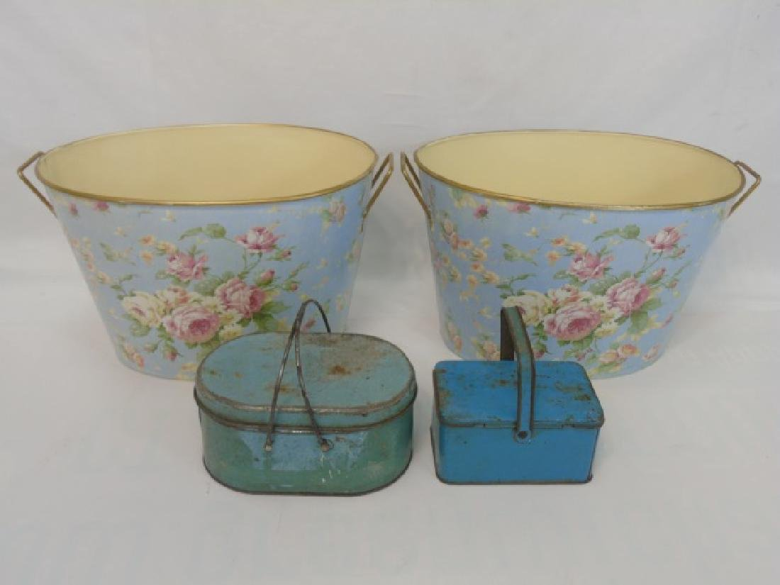 5 Painted Metal Items 2 Lunch Pails & 3 Buckets