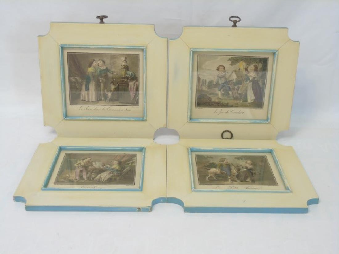 4 Antique Framed Prints of 19th C Children Playing