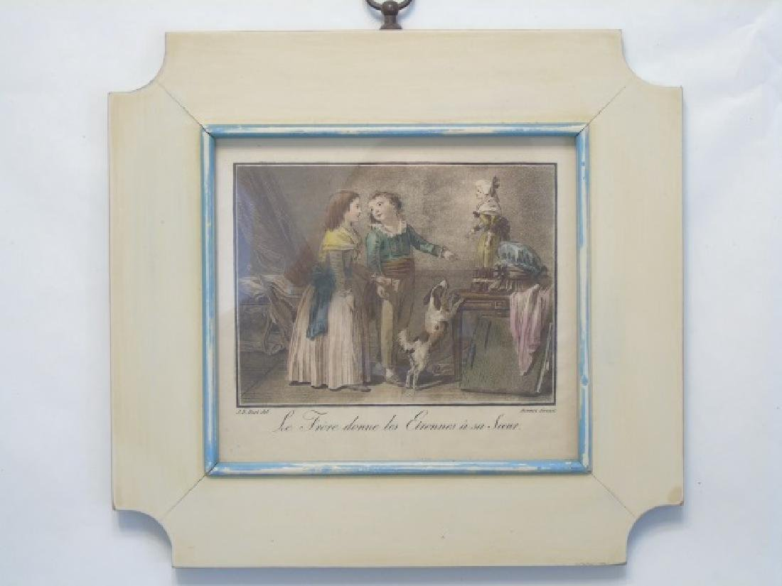 4 Antique Framed Prints of 19th C Children Playing - 3